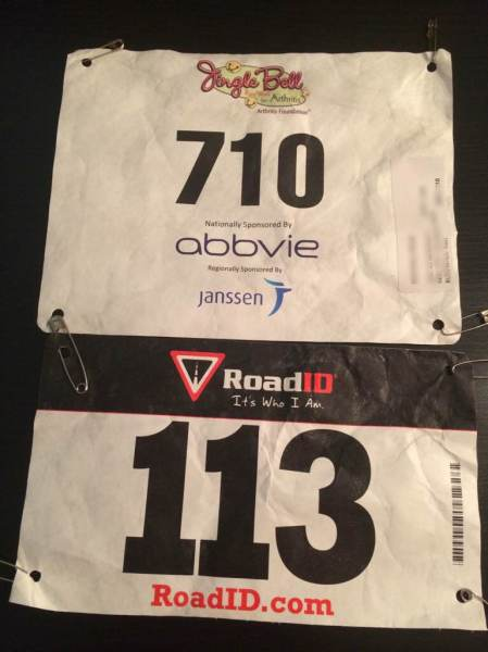 Bibs from my 5k runs.