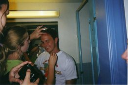Dyeing my friend Jason's hair in the bathroom in the basement of North during the second year of Writer's Workshop, c. 2000.